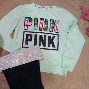 VS Pink yoga and sweatshirt.